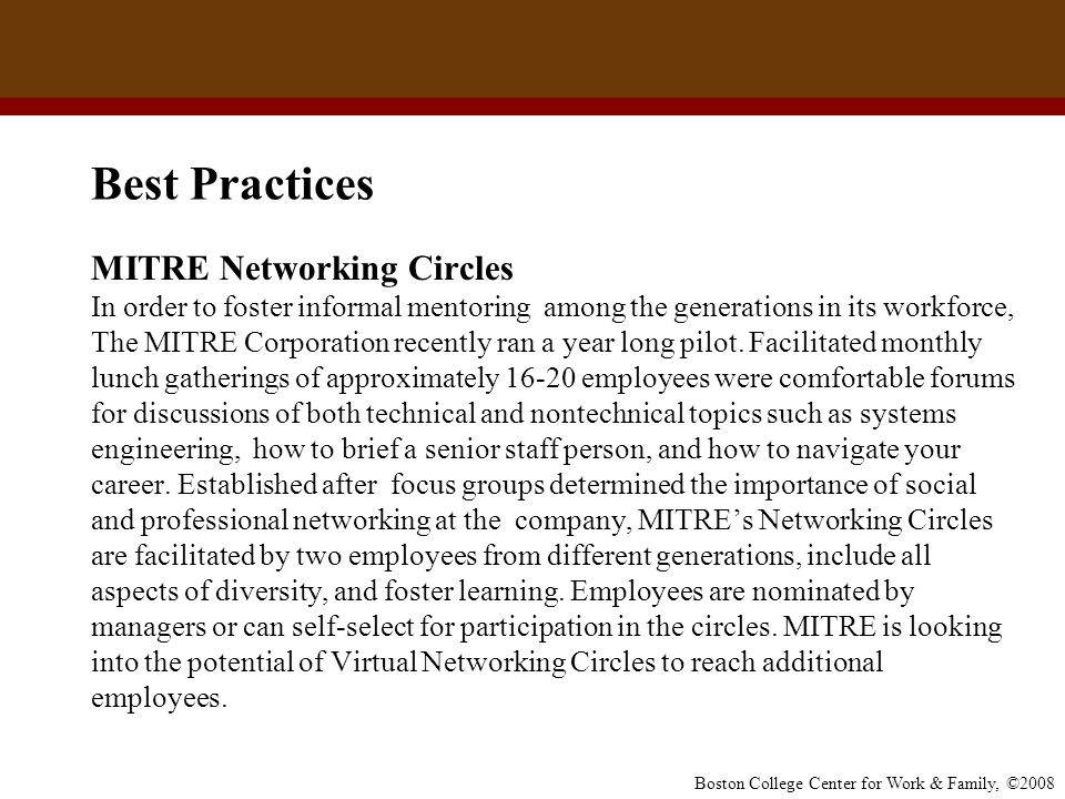 Best Practices MITRE Networking Circles