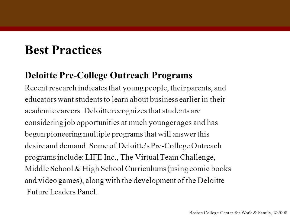 Best Practices Deloitte Pre-College Outreach Programs