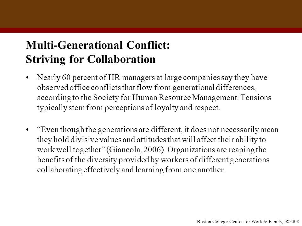 Multi-Generational Conflict: Striving for Collaboration