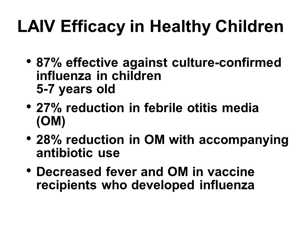 LAIV Efficacy in Healthy Children