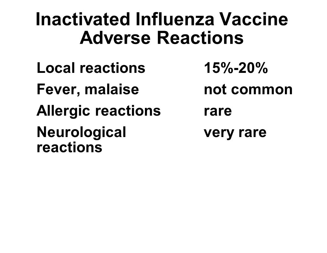 Inactivated Influenza Vaccine Adverse Reactions