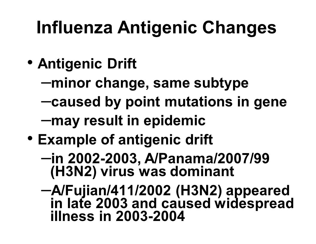 Influenza Antigenic Changes