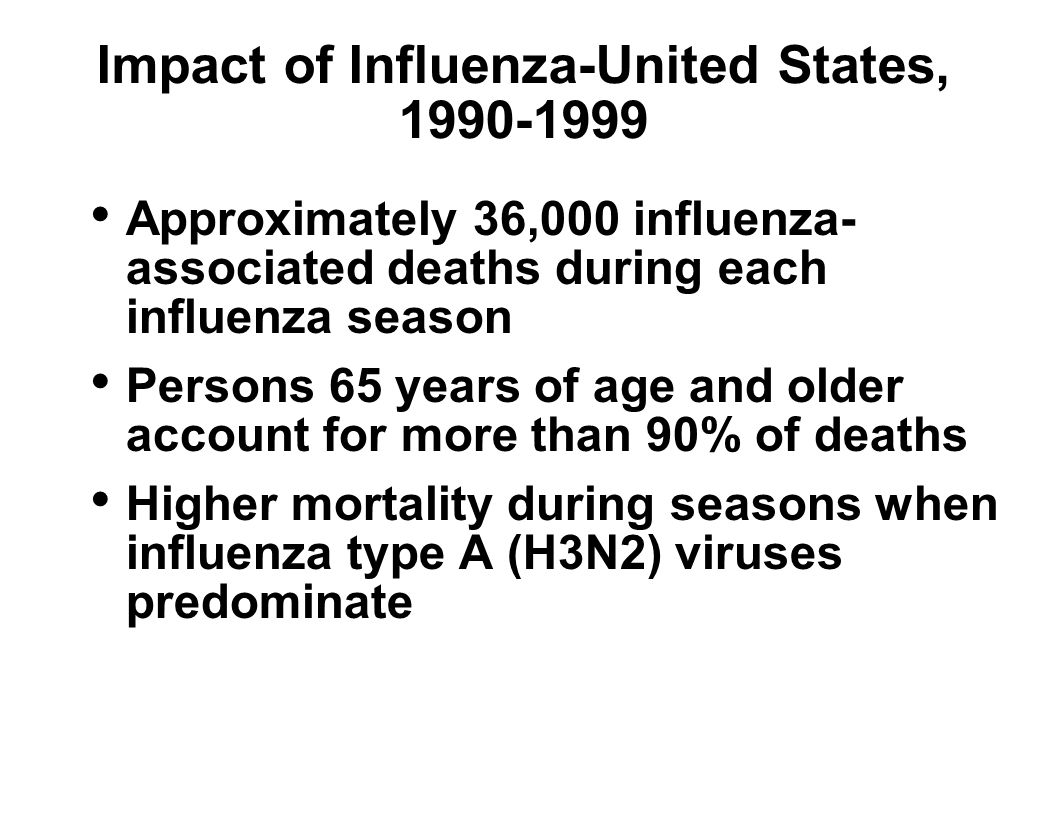 Impact of Influenza-United States, 1990-1999