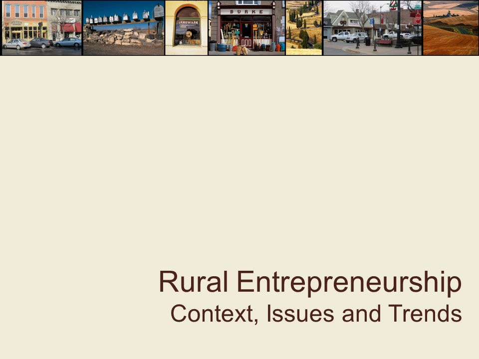 Rural Entrepreneurship Context, Issues and Trends