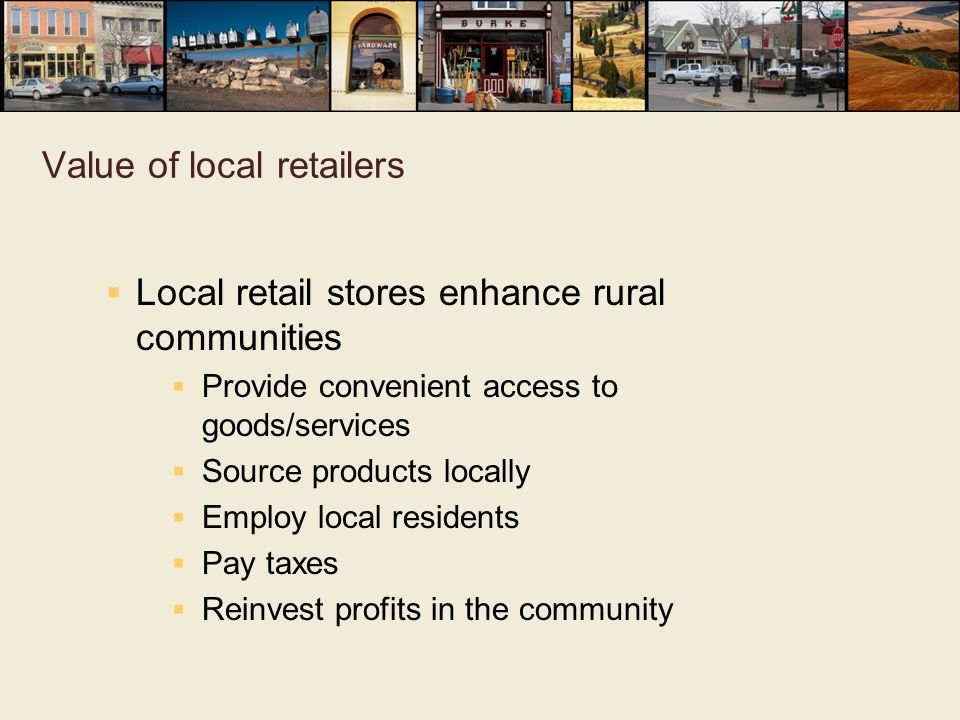 Value of local retailers
