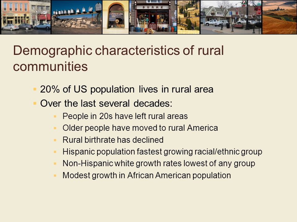 Demographic characteristics of rural communities