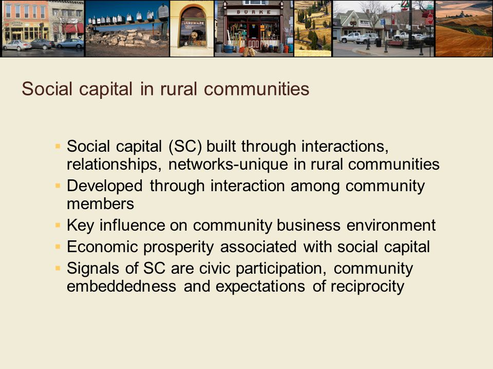 Social capital in rural communities