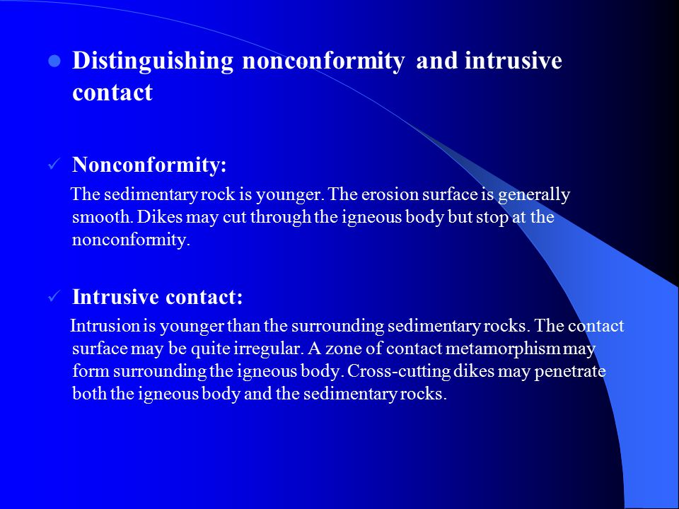 Distinguishing nonconformity and intrusive contact