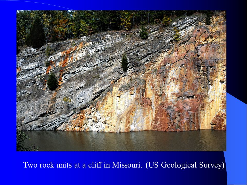 Two rock units at a cliff in Missouri. (US Geological Survey)