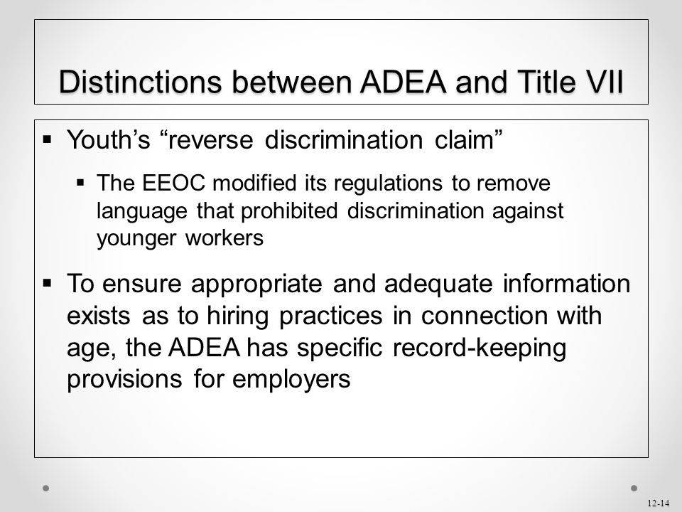 Distinctions between ADEA and Title VII
