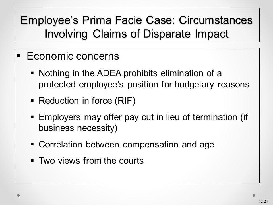Employee's Prima Facie Case: Circumstances Involving Claims of Disparate Impact