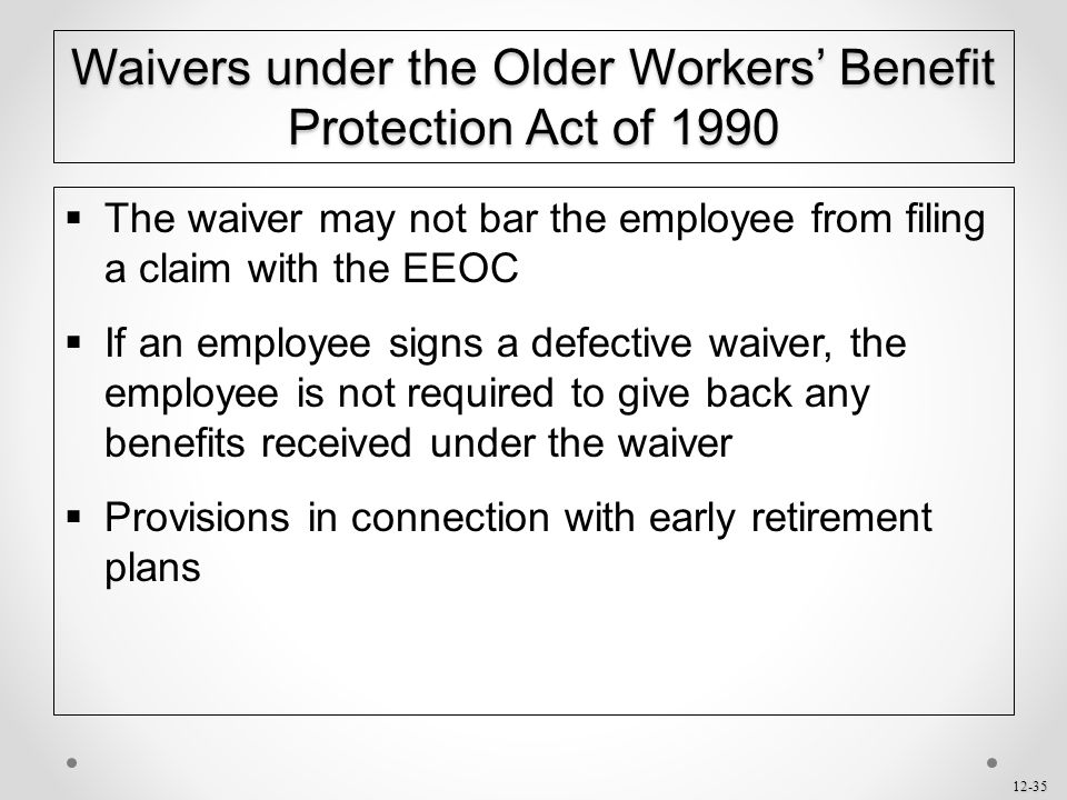 Waivers under the Older Workers' Benefit Protection Act of 1990