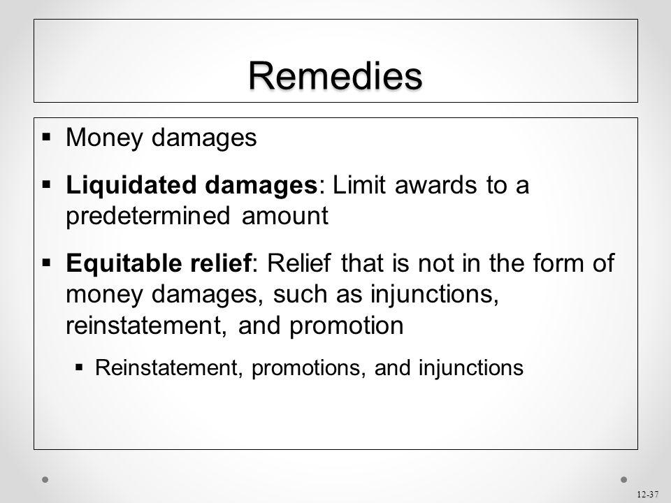 Remedies Money damages