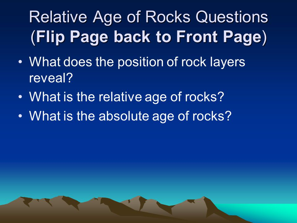 Relative Age of Rocks Questions (Flip Page back to Front Page)