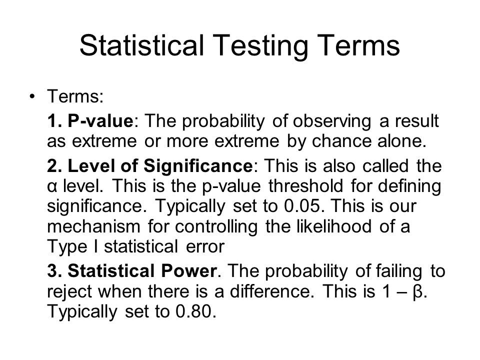 Statistical Testing Terms