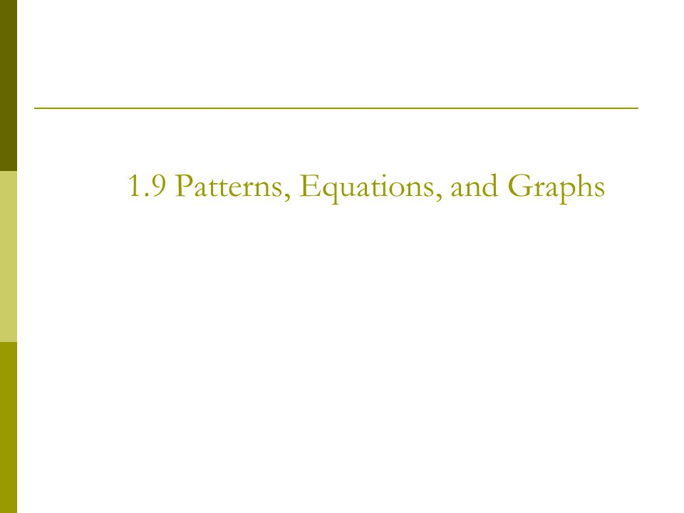 1.9 Patterns, Equations, and Graphs