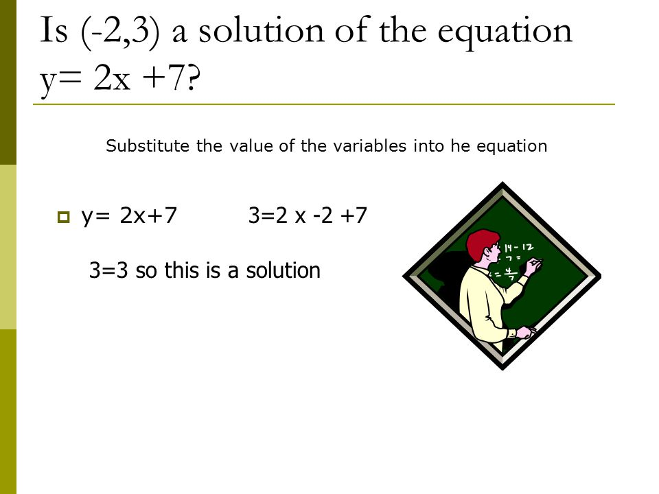 Is (-2,3) a solution of the equation y= 2x +7