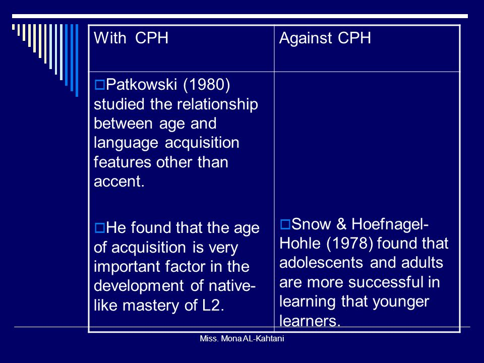 With CPH Against CPH. Patkowski (1980) studied the relationship between age and language acquisition features other than accent.
