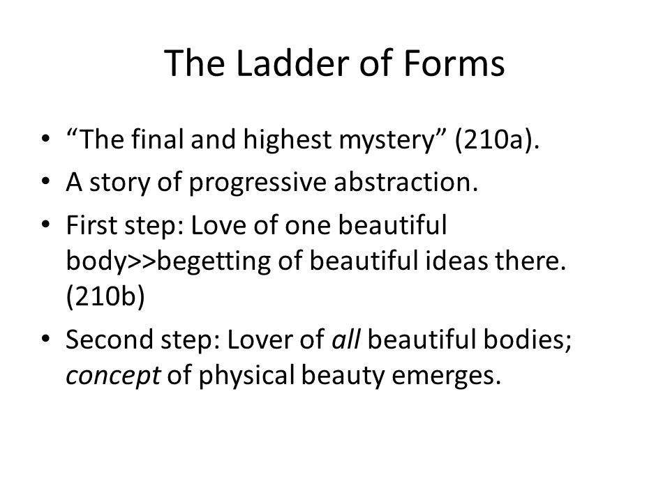 The Ladder of Forms The final and highest mystery (210a).