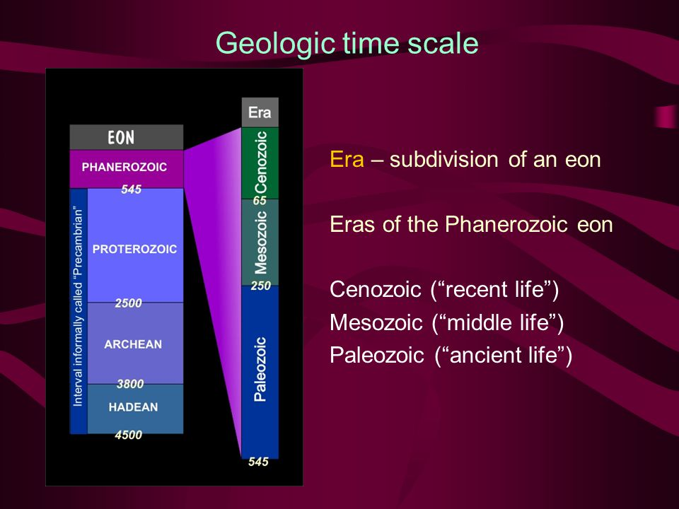 Geologic time scale Era – subdivision of an eon