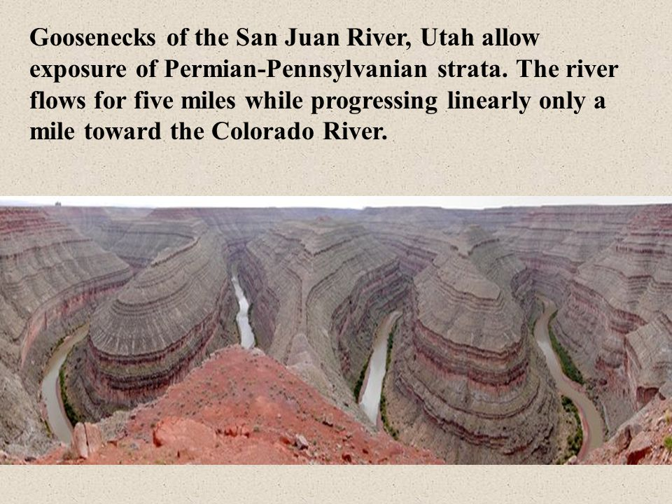 Goosenecks of the San Juan River, Utah allow exposure of Permian-Pennsylvanian strata.
