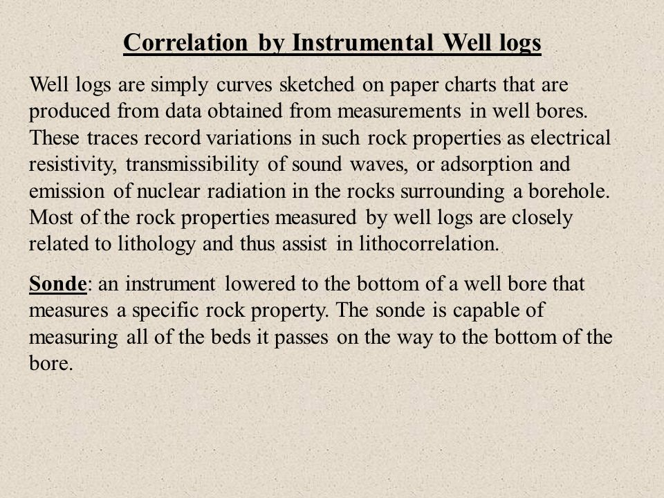 Correlation by Instrumental Well logs