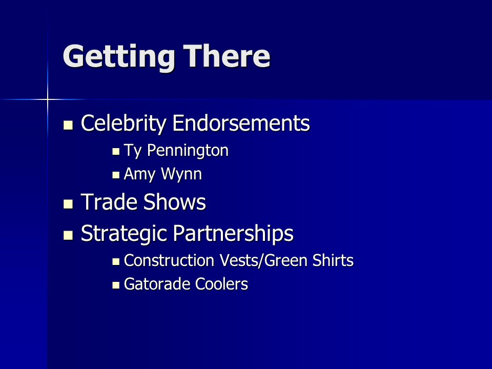 Getting There Celebrity Endorsements Trade Shows