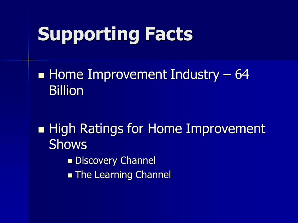 Supporting Facts Home Improvement Industry – 64 Billion