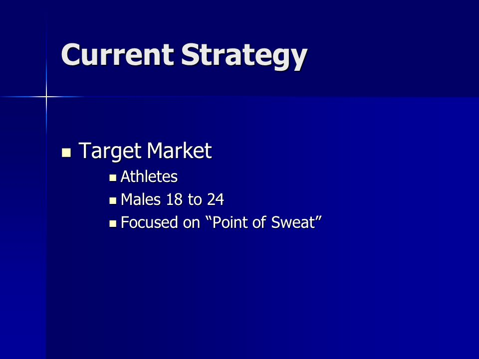 Current Strategy Target Market Athletes Males 18 to 24