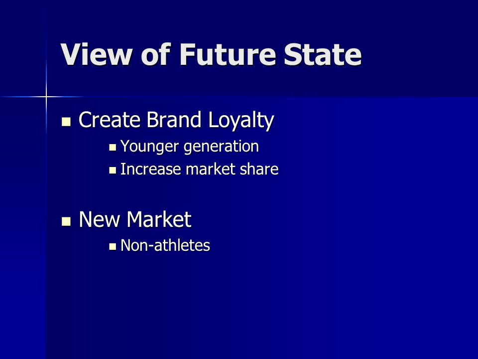 View of Future State Create Brand Loyalty New Market
