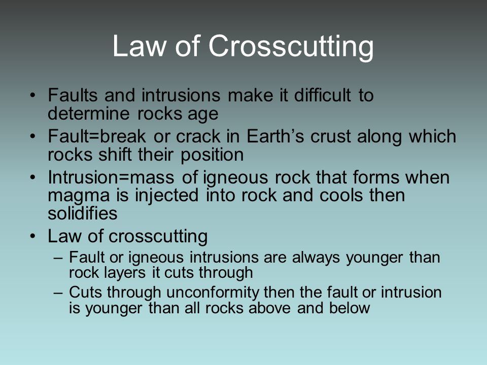 Law of Crosscutting Faults and intrusions make it difficult to determine rocks age.