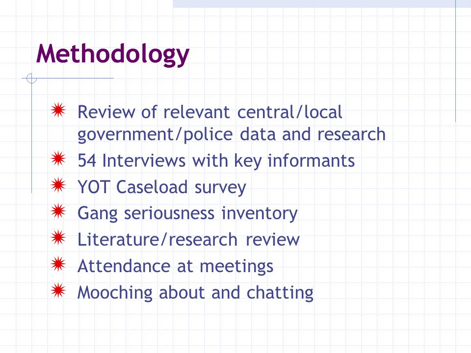 Methodology Review of relevant central/local government/police data and research. 54 Interviews with key informants.