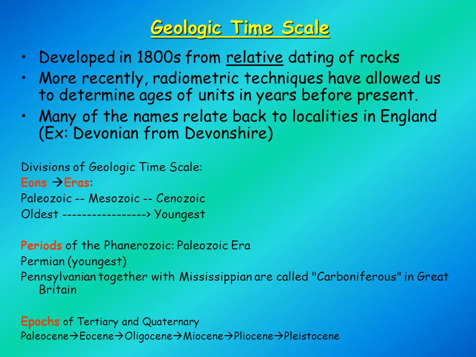 Geologic Time Scale Developed in 1800s from relative dating of rocks