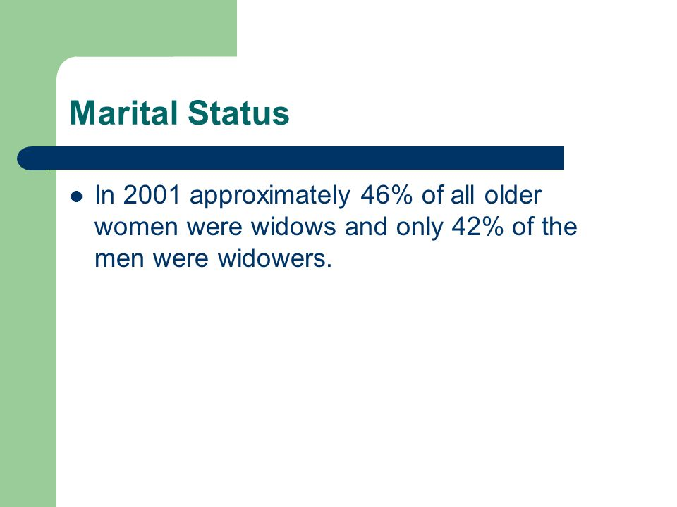 Marital Status In 2001 approximately 46% of all older women were widows and only 42% of the men were widowers.