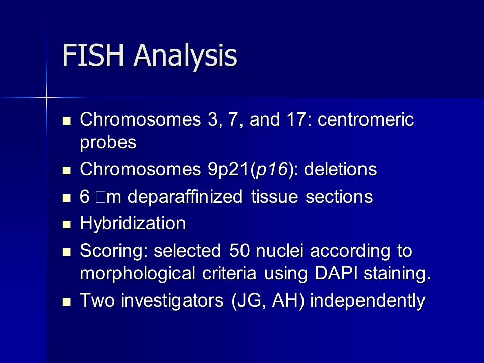 FISH Analysis Chromosomes 3, 7, and 17: centromeric probes