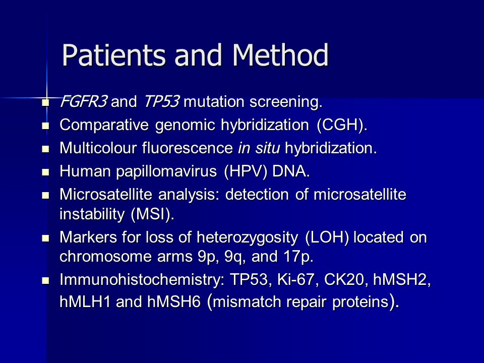 Patients and Method FGFR3 and TP53 mutation screening.
