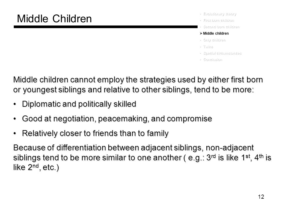 Middle Children Evolutionary theory. First born children. Second born children. Middle children.