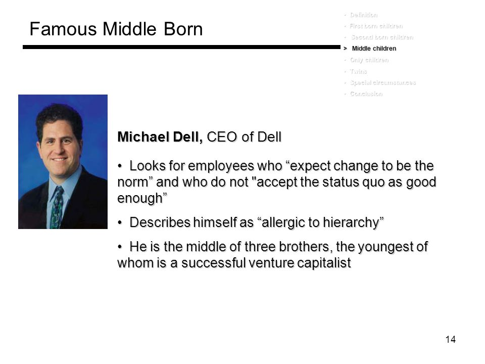Famous Middle Born Michael Dell, CEO of Dell