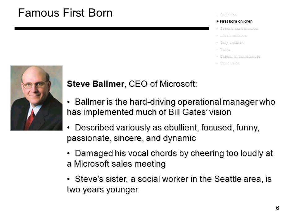 Famous First Born Steve Ballmer, CEO of Microsoft: