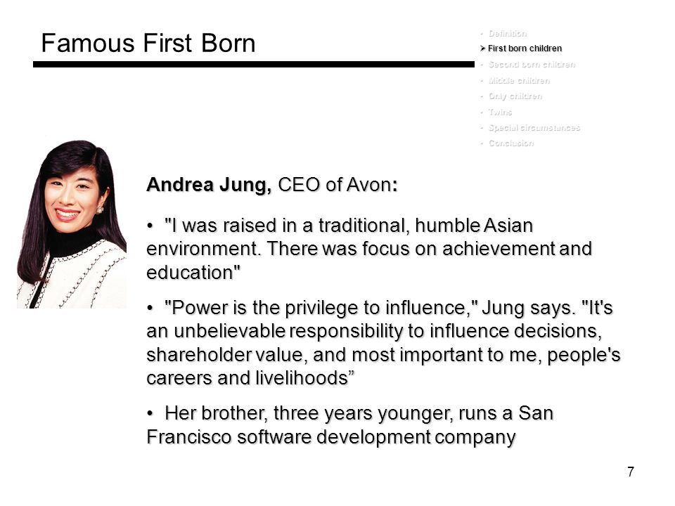 Famous First Born Andrea Jung, CEO of Avon: