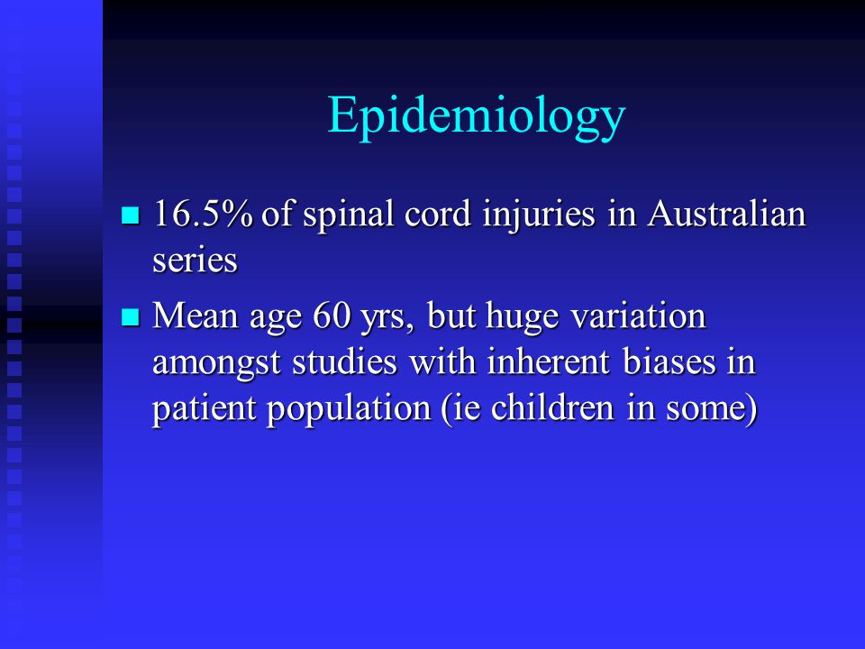 Epidemiology 16.5% of spinal cord injuries in Australian series