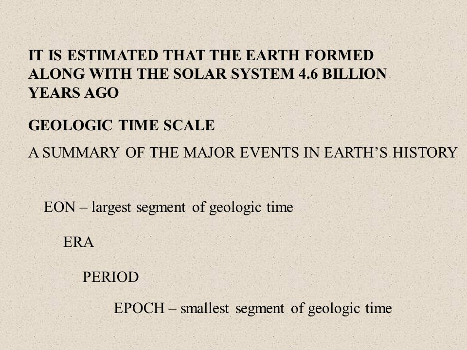 IT IS ESTIMATED THAT THE EARTH FORMED ALONG WITH THE SOLAR SYSTEM 4