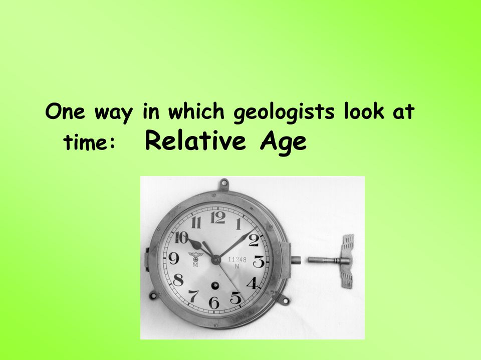 One way in which geologists look at time: Relative Age