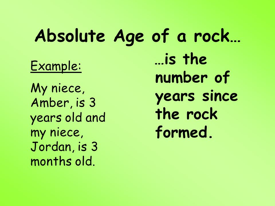 Absolute Age of a rock… …is the number of years since the rock formed.