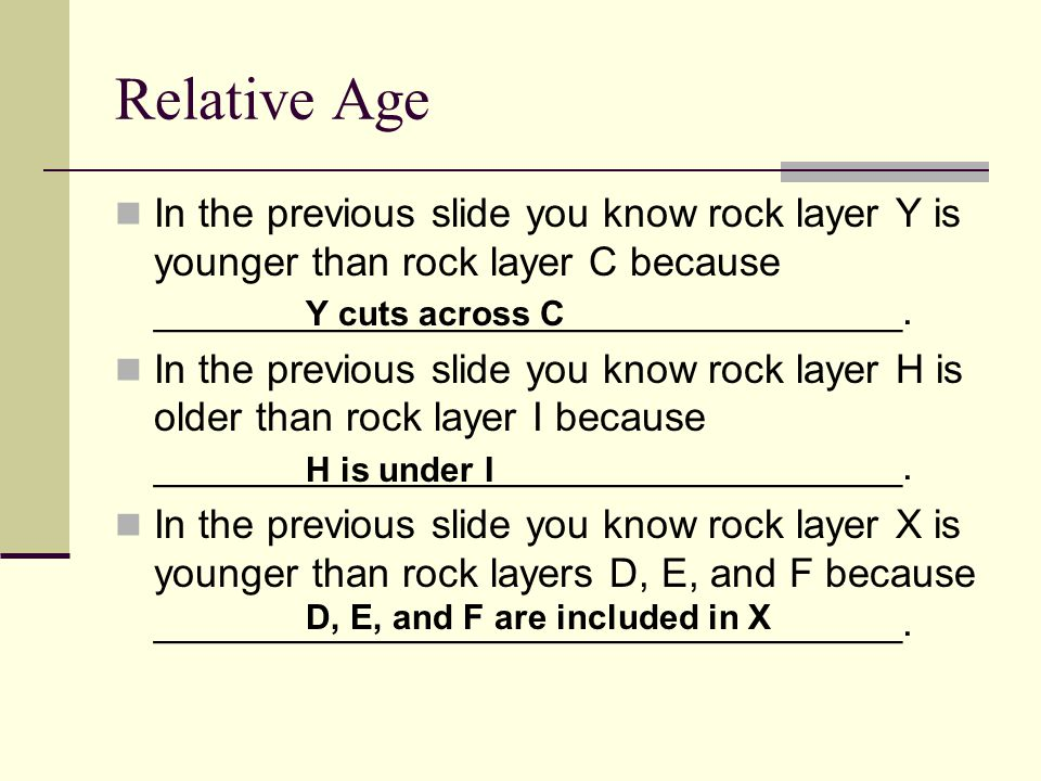 Relative Age In the previous slide you know rock layer Y is younger than rock layer C because _________________________________.