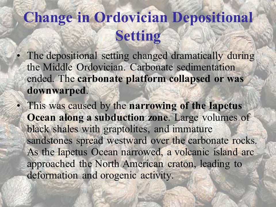 Change in Ordovician Depositional Setting
