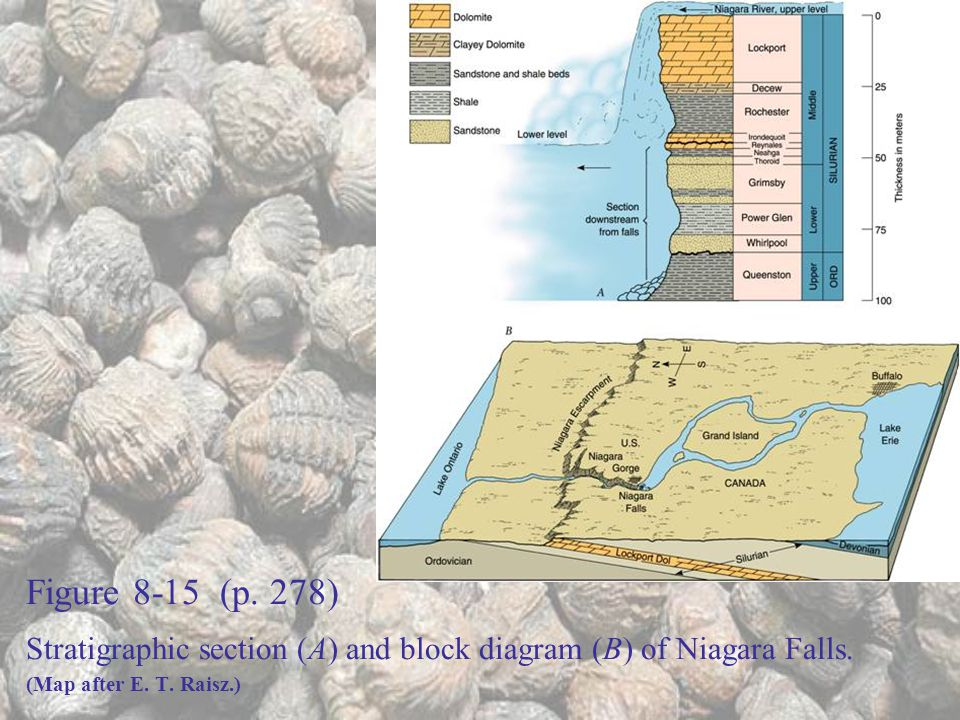 Figure 8-15 (p. 278) Stratigraphic section (A) and block diagram (B) of Niagara Falls.
