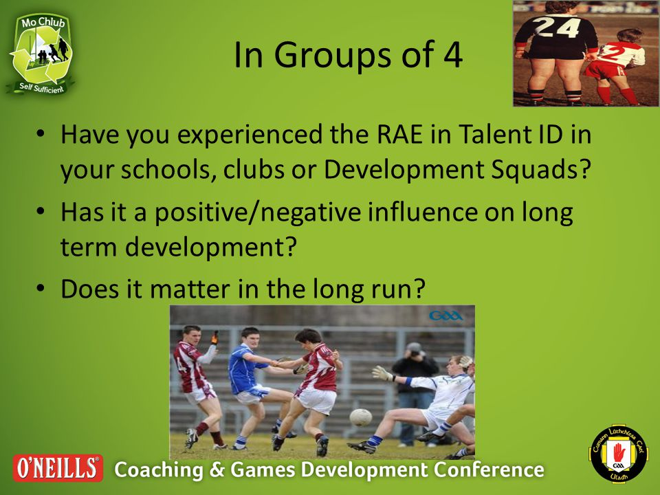In Groups of 4 Have you experienced the RAE in Talent ID in your schools, clubs or Development Squads