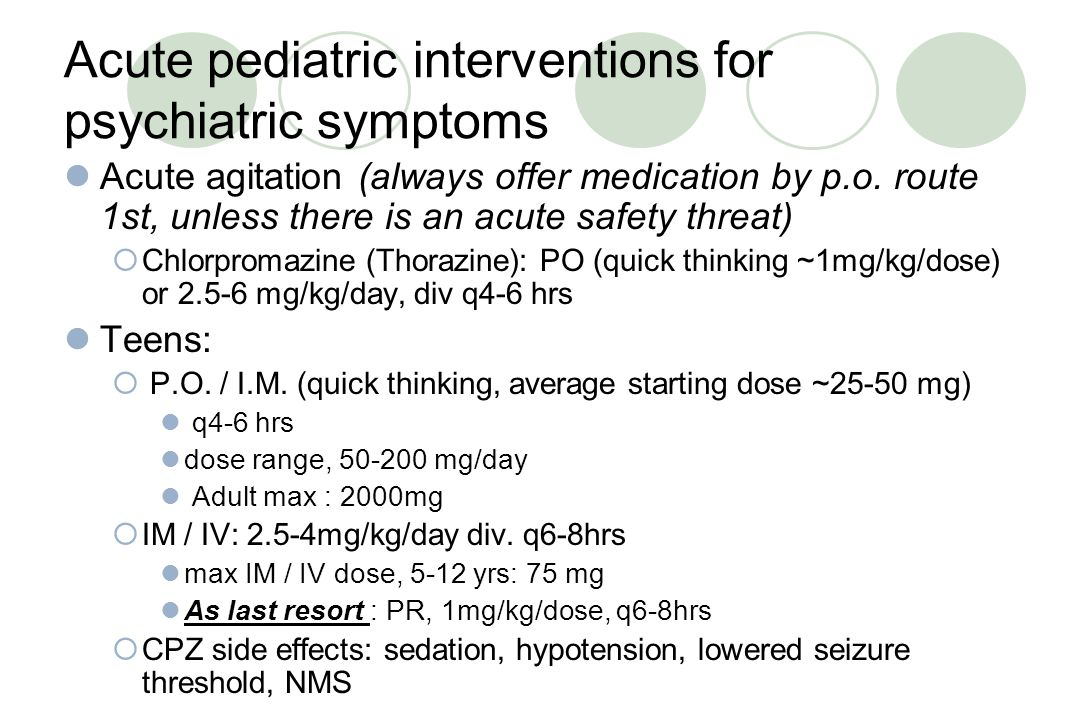 Acute pediatric interventions for psychiatric symptoms