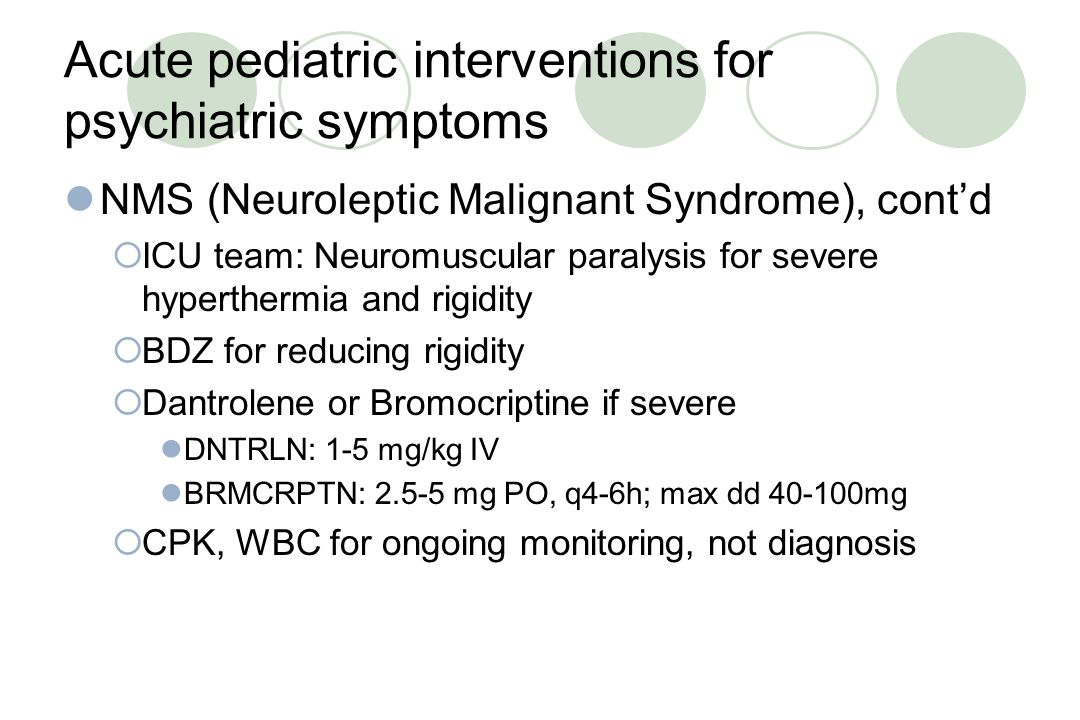 Acute pediatric interventions for psychiatric symptoms